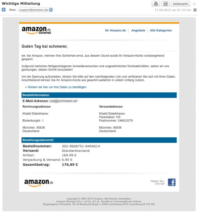 Phishing-Mails wie diese locken derzeit mit vermeintlicher Kontosperrung bei Amazon unaufmerksmae Nutzer in die Falle (Screenshot: ZDNet.de)