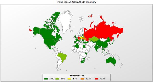 Die Erpressersoftware Shade wurde bislang besonders häufig in Russland und im deutschsprachigen Raum beobachtet (Grafik: Kaspersky).