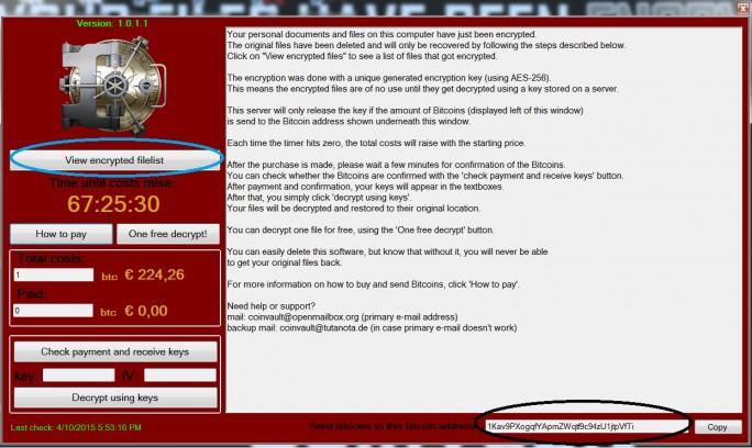 Mit diesem Hinweis forderte die CoinVault-Ransomware Nutzer zur Zahlung eines Lösegeldes auf (Screenshot: Kaspersky).