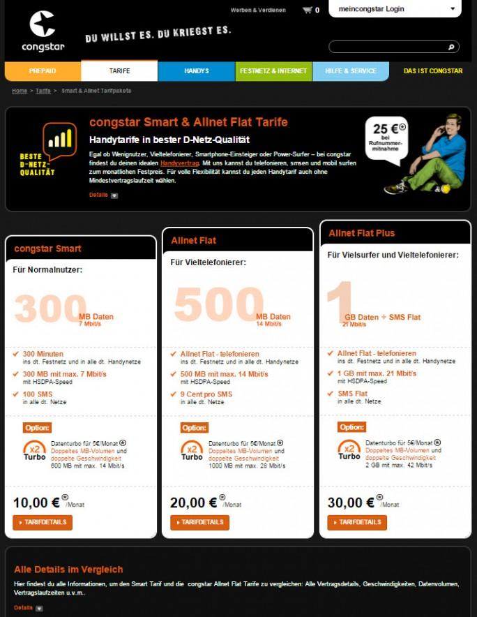 congstar (Screenshot: CNET.de)
