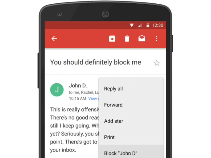 Gmail unerwünschten Absender blocken Bild: Google)