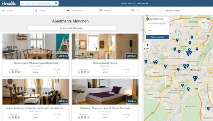 Homelike vermittelt möblierte Apartments in erster Linie an Firmen, die die für einen Monat oder länger für ihre Mitarbeiter benötigen (Screenshot: ITespresso).