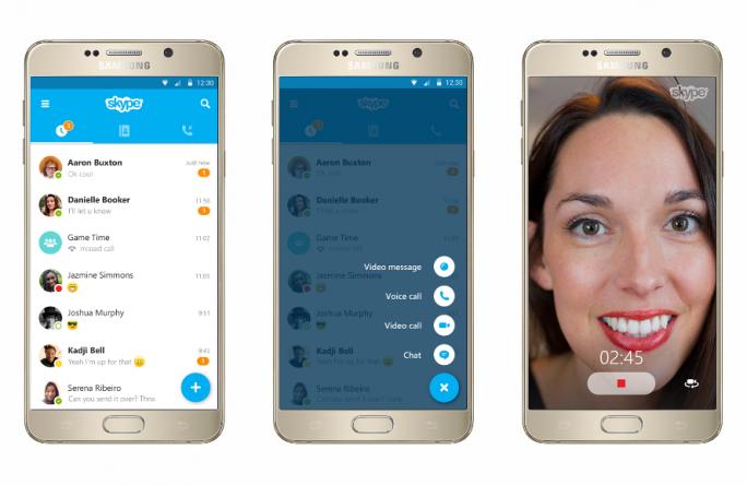 Skype 6.0 für Android bringt einen mitlaufenden Aktionsknopf in Form eines blauen Pluszeichens mit (Bild: Microsoft).