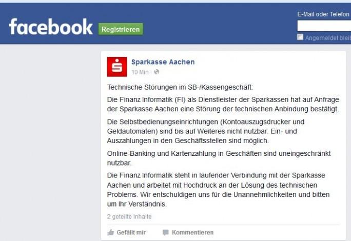 Update: Soeben hat die Sparkasse Aachen bei Facebook den Ausfall bestätigt und Kunden über das Ausmaß informiert (Screenshot: ITespresso)
