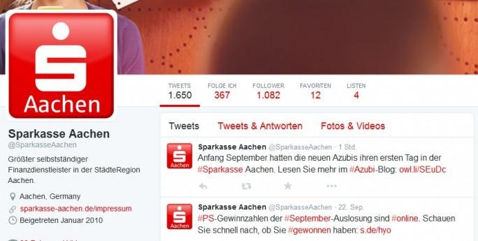 Schön, dass die Sparkasse Aachen ein Konto bei Twitter hat, schade, dass sie es nicht nutzt, um Kundne über aktuelle Probleme zu informieren (Screenshot: ITespresso).