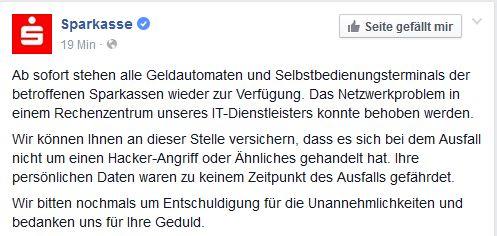 Auf der Facebook-Fanpage von Sparkasse.de wurde ebenfalls bestätigt, dass Kudnen wieder wie gewohnt auf die geldautomaten zugreifen können (Screenshot: ITespresso)