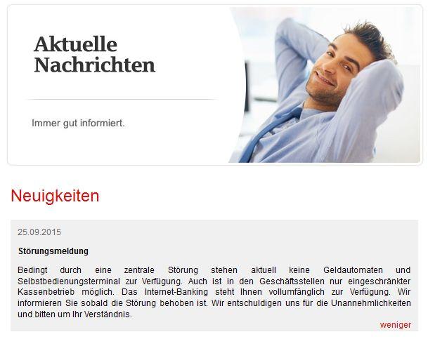 Die Sparkasse Köln Bonn ist eine der wenigen, die ihre Website nutzt, um Kunden auf den Ausfall der Geldautomaten hinzuweisen und dort auch verspricht mitzuteilen, wenn das Problem behoben ist (Screenshot: ITespresso).