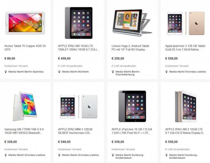 Zum Angebot im Media Markt Outlet bei Ebay gehören unter anderem diverse Tablets (Screenshot: ITespresso).