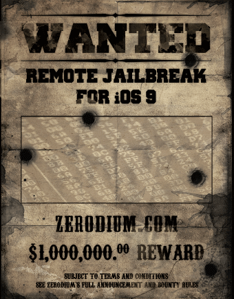 Zerodium lobt eine Million Dollar pro ihm gemeldeter Lücke in iOS 9 aus (Bild: Zerodium)