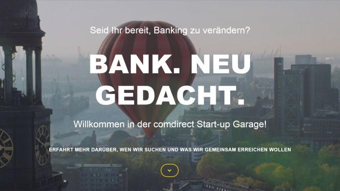 Junge Unternehmen mit einer Geschäftsidee können sich bei der Comdirect um einen Platz in der Startup-Garage bewerben. (Screenshot: ITespresso)