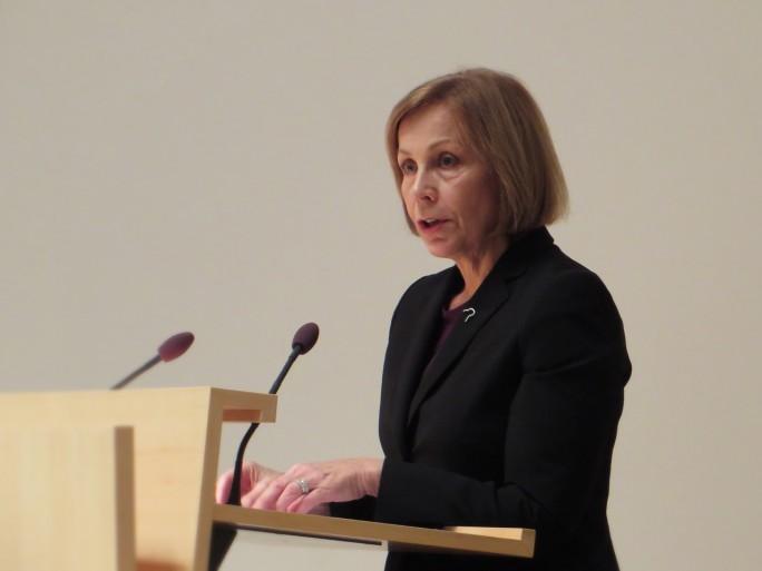 Die finnische Botschafterin Ritva Koukku-Ronde sprach ein Grußwort bei der Herbsttagung der deutsch-finnischen Handelskammer (Foto: Mehmet Toprak)