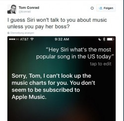 Tweet von Tom Conrad zu Siri (Screenshot: ITespresso)