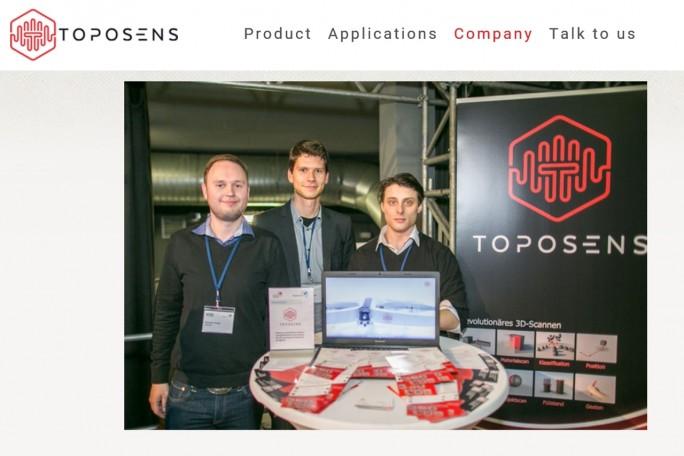 """Toposense hat das Mini-Pitching gewonnen und darf nun zum Startup-Festival """"Slush"""" fahren. Das Foto zeigt die Toposens-Gründer Alexander Rudoy, Rinaldo Persichini und Tobias Bahnemann. (Foto: Toposens)"""