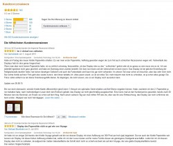 Kundenrezensionen bei Amazon - hier am Beispiel des E-Book-Readers Kindle Paperwhite (Screenshot: ITespresso)