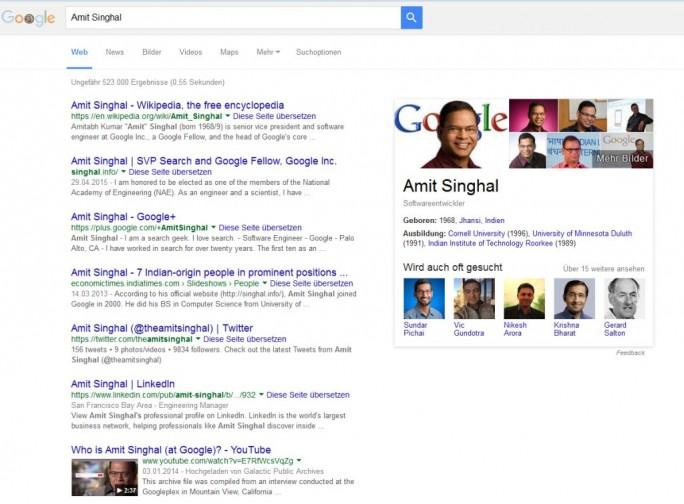 Ergebnisse bei der Suche nach Googles Such-Chef Amit Singhal (Screenshot: ITespresso).