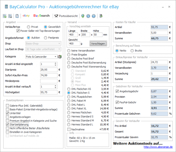 Baycalculator 6.5 (Screenshot: aborange)