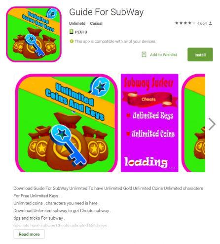 """""""Guide for Subway"""" war eine, der inzwischen aus Google Play Store entfernten, potenziell unerwünschten Anwendungen (Screenshot: ESET)."""