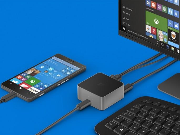 Mit dem Microsoft Display Dock wird das Lumia 950 XL zu einem PC (Bild: Microsoft)