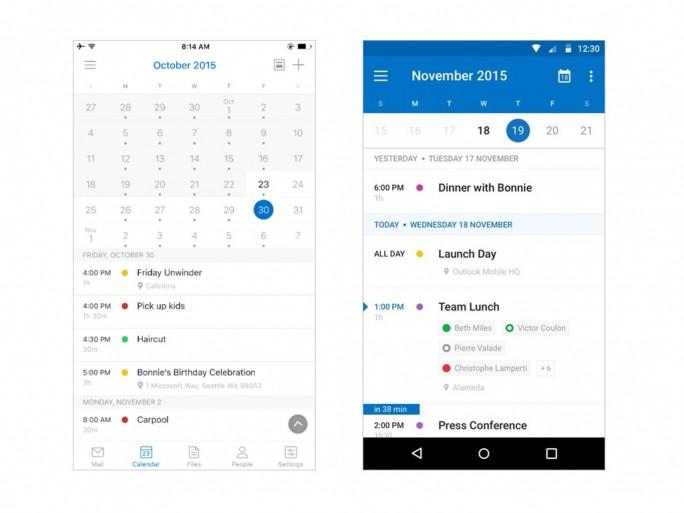 Outlook für iOS (links) und Android (rechts) informiert künftig mit Markierungen darüber, welche Personen einen Termin zu- oder abgesagt haben (Bild: Microsoft).
