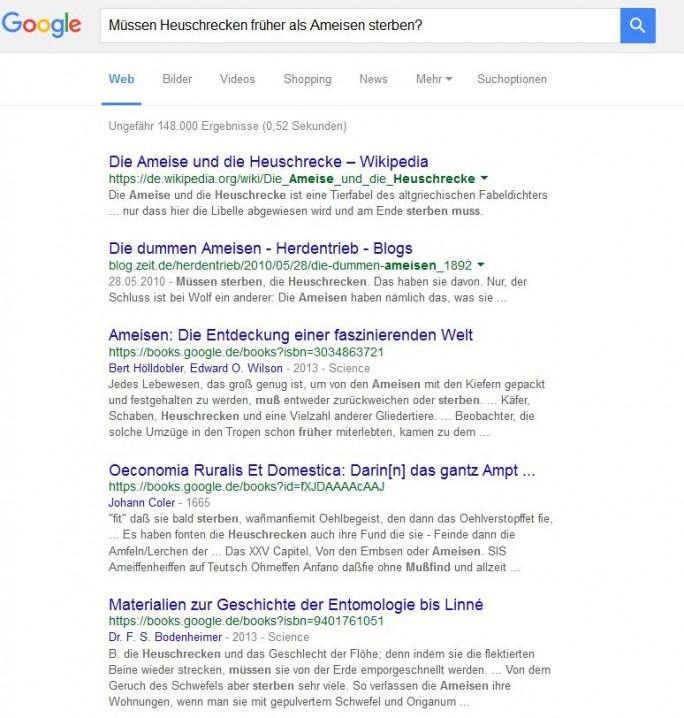 Bei anderen Anfragen hat man zumindest bei Google.de noch nicht den Eindruck, dass RankBrain zum Tragen kommt, hier werden einfach die Begriffe gesucht und Beiträge dementsprechend angezeigt (Screewnshot: ITespresso).