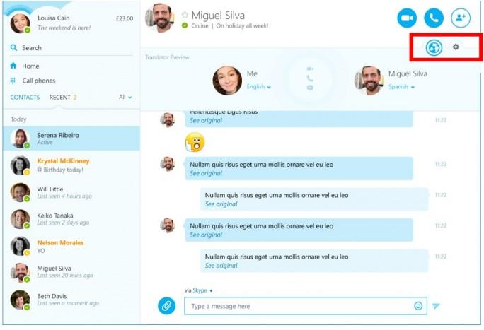 Mit dem Skype-Translator-Symbol wird angezeigt, ob die Übersetzungsfunktion verfügbar ist (Bild: Microsoft).