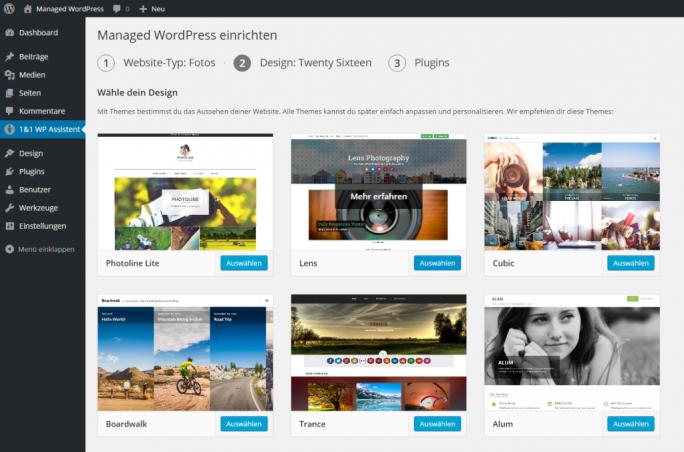 Einer der ersten Schritte beim 1&1 WP Assistenten: Die Auswahl des gewünschten Design (Screenshot: 1&1
