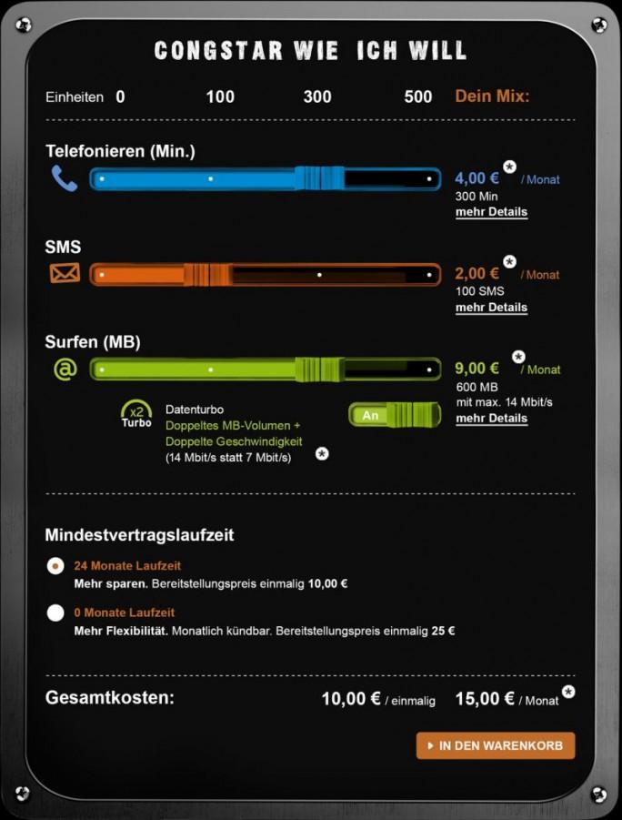 """Im hier ausgewählten Beispiel würde ein Kunde bei Congstar für 300 Telefonminuten, 100 SMS und ein Inklusivvolumen von 300 MByte mit einer durch """"Datenturbo"""" auf 14 MBit/s erhöhten Maximalgeschwindigkeit pro Monat 15 Euro bezahlen (Bild: Congstar"""