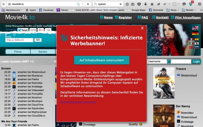 MalwaretizingAlert (Screenshot: Cyscon)