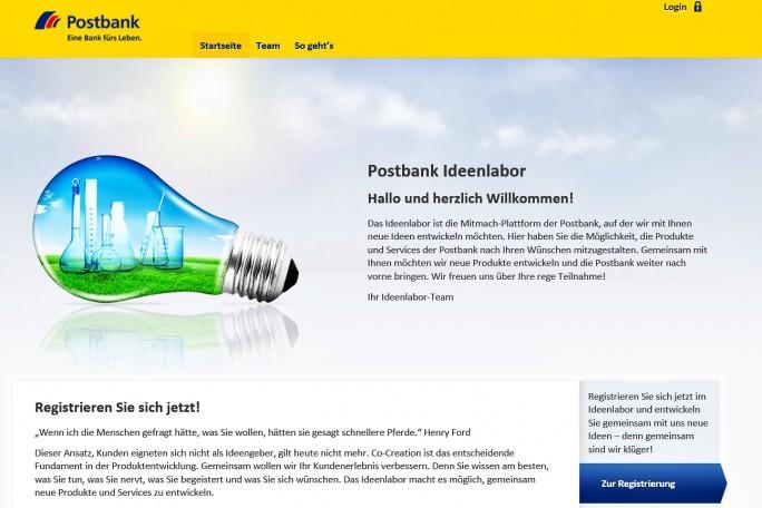 Auf dieser Website der Postbank sollen Kunden ihre Idden und Wünsche beitragen. (Screenshot: Mehmet Toprak)