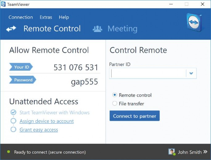 Remote Control Teamviewer-11 (Screenshot: Teamviewer)
