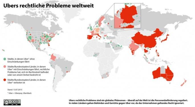 Eine von der Genossenschaft Taxi Deutschland zusammengestellte Infografik zeigt den Status von Ubers weltweiten Rechtsstreitigkeiten. Stand der Grafik ist der 13. Juli 2015. Nur in den grün markierten Städten und Regionen steht der Dienst wie geplant zur Verfügung (Grafik: Taxi Deutschland eG)