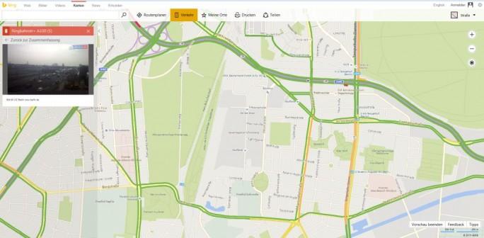 Zumindest für Berlin ist die Anzeige von Bildern von Verkehrsüberwachungskameras in Bing jetzt möglich (Screenshot: ITespresso)