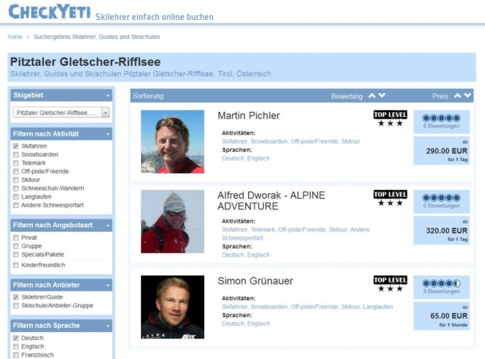 CheckYeti.com kann aktuell auf 1300 Wintersportangebote in 150 Orten verweisen (Screenshot: CheckYeti.com).