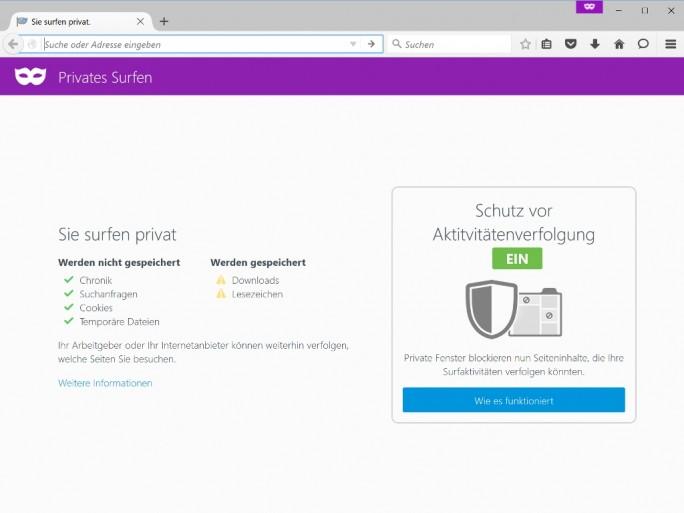 Der Privatsphäremodus bietet einen Trackingschutz, der zudem als Werbeblocker dient (Screenshot: ITespresso).