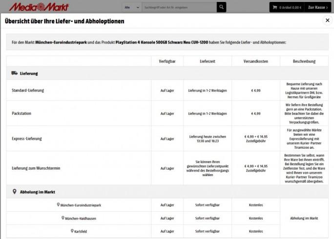 MediaMarkt und Saturn bieten die Expresslieferung nun nahezu deutschlandweit als Lieferoption mit an (Screenshot: ITespreso)