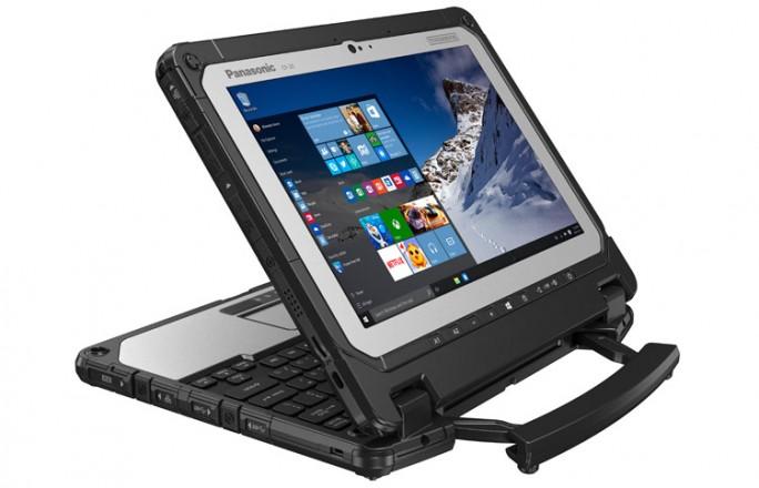 Zum Beispiel für Präsentationen lässt sich die Tableteinheit auch umgekehrt in das Tastaturdock einsetzen (Bild: Panasonic).