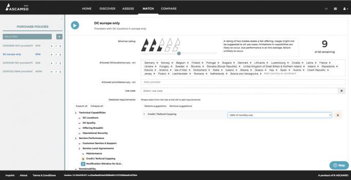 Ascamso Match-Ansicht - Anbieter Shortlisting (Screenshot: Ascamso)