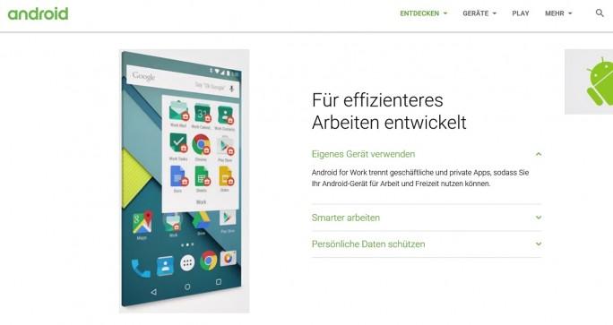 Android for Work beschert Mobilgeräten mit dem Google-Betriebssystem ein Plus an Sicherheit (Screenshot: Mehmet Toprak).