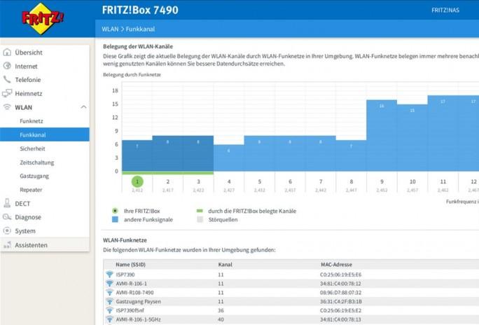 Die verbesserten WLAN-Analysemöglichkeiten unter Fritz OS 6.50 (Screenshot: AVM)