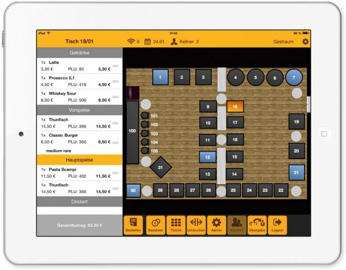 Tischplan auf dem iPad-Kassensystem (Bild: Gastrofix )