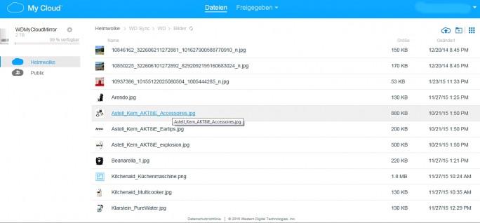 """Die Daten aus dem PC werden automatisch in das Verzeichnis von """"WD Sync"""" hochgeladen. (Screenshot: Mehmet Toprak)"""