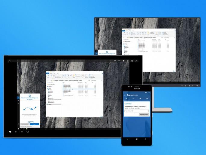 """Die Windows 10 App """"Teamiewer: Remote Control"""" kann auf Smartphones, Tablets und Ultrabooks für spontanen Support genutzt werden oder um von unterwegs auf den Rechner zuhause zugreifen ( Screenshot: Teamviewer)."""