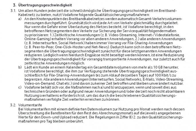 Die entscheidenden aber etwas vagen Passagen in den Vodafone-AGB (Screenshot: ITespresso)
