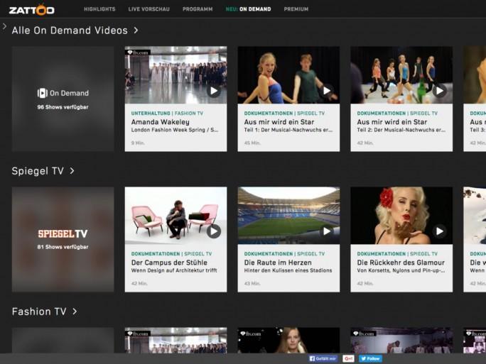 Das zu Beginn noch recht überschauibare Video-on-Demand-Angebot von Zattoo (Screenshot: Zattoo).