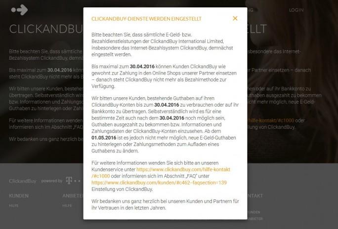 Der Bezahldienst Clickandbuy wird zum 30. April eingestellt (Screenshot: ITespresso).