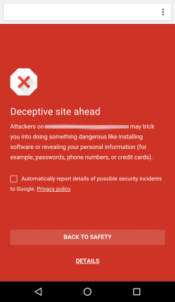 Safe Browsing Warnmeldung (Screenshot: Google)