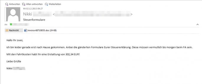Eine der im Rahmen der aktuellen Dridex-Malwarekampagnen versandten und von G Data abgefangenen E-Mails (Screenshot: G Data).