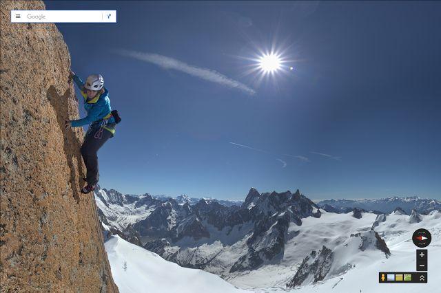 Catherine Destivelle beim Aufstieg am Aiguille du Midi (Bild: Google