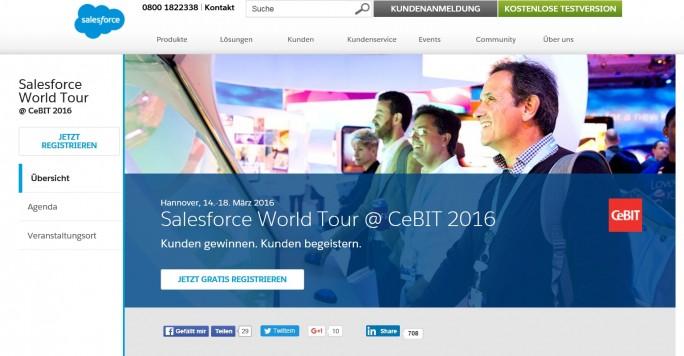 Das Unternehmen, das die Cloud schon im Logo hat. Salesforce, der CRM- und Cloud-Spezialist aus San Francisco, wird auch auf der CeBIT 2016 präsent sein (Screenshot: Mehmet Toprak)