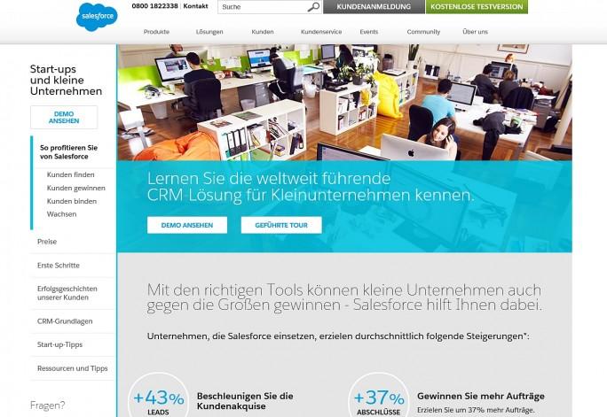 Auch für kleine Unternehmen und Startups hat Salesforce eine CRM-Lösung im Angebot (Screenshot: Mehmet Toprak).